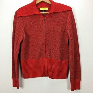 ST. JOHN Yellow Label Red Marled Zip Front Sweater